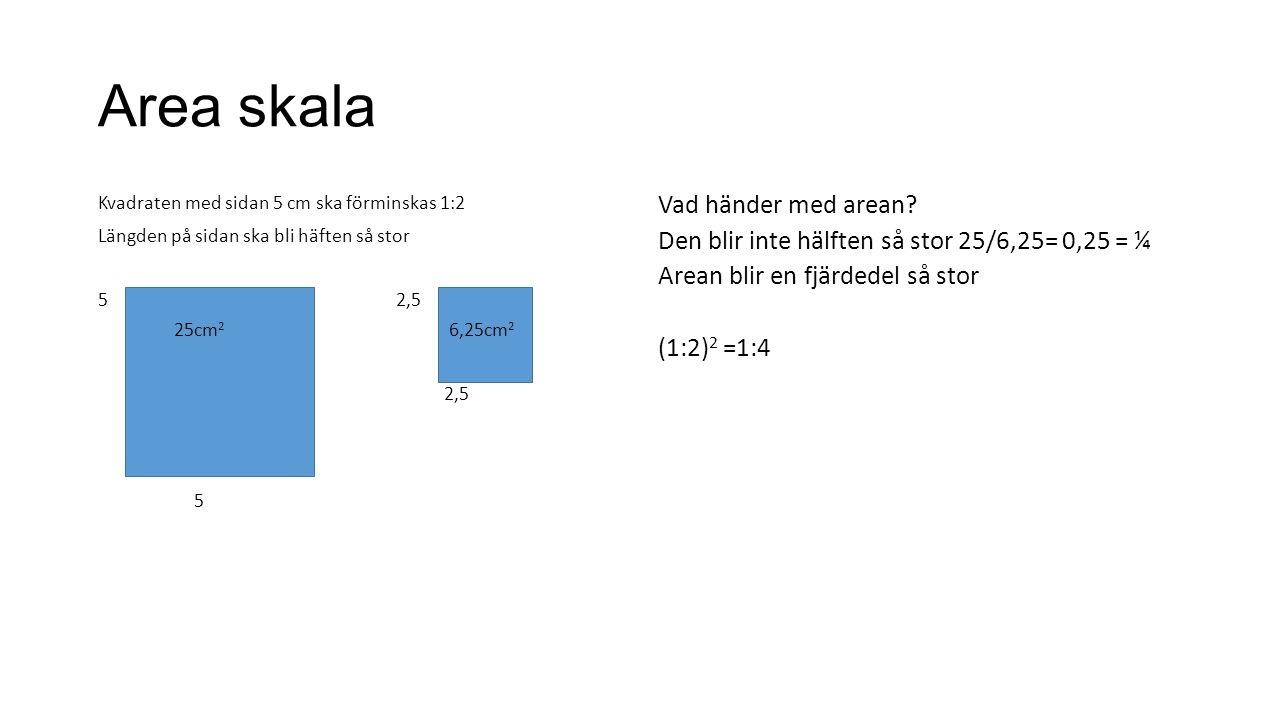 Area skala Kvadraten med sidan 5 cm ska förminskas 1:2 Längden på sidan ska bli häften så stor 5 2,5 25cm 2 6,25cm 2 2,5 5 Vad händer med arean.