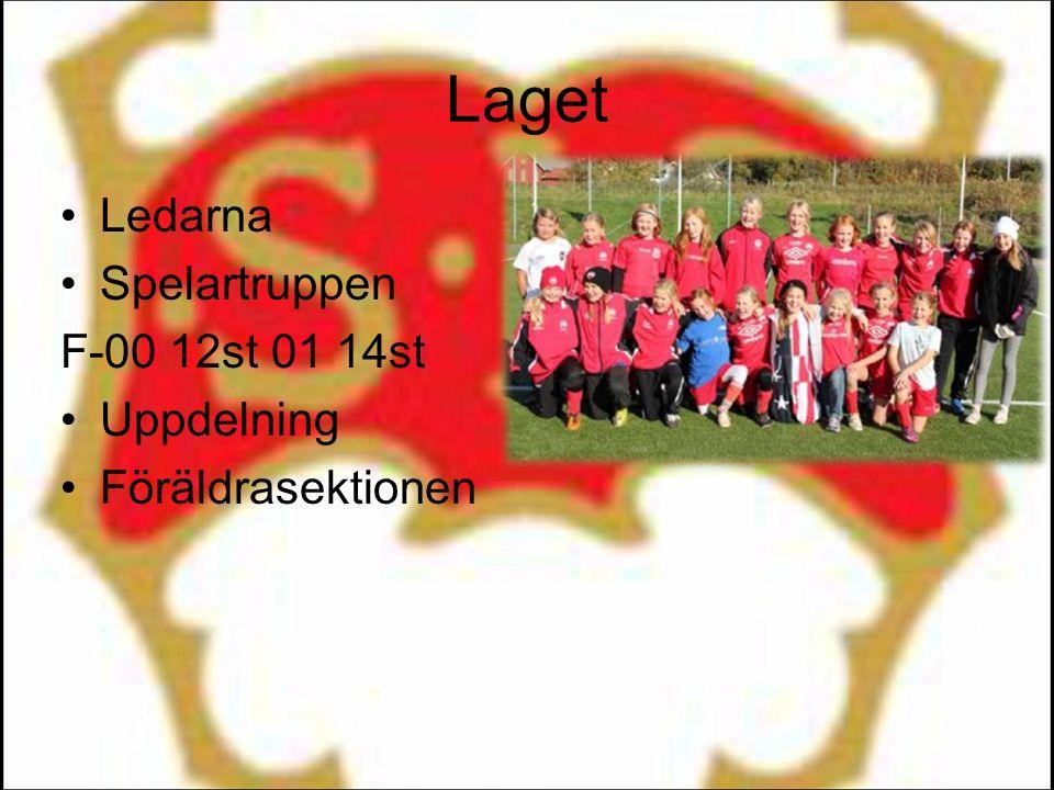 Laget Ledarna Spelartruppen F-00 12st 01 14st Uppdelning Föräldrasektionen