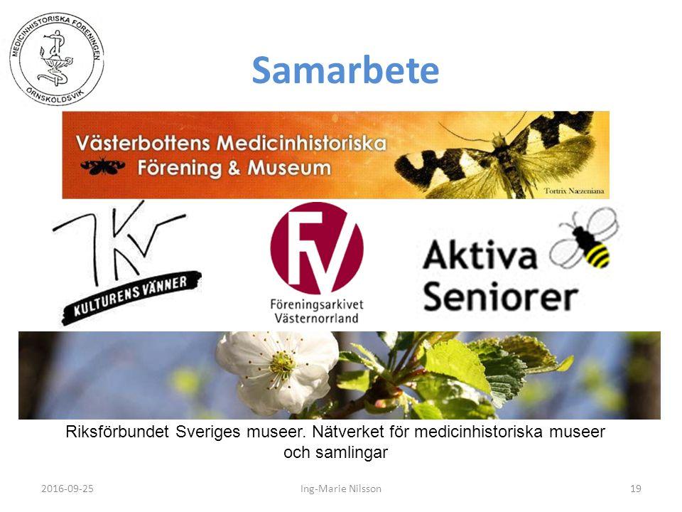 Samarbete 2016-09-2519Ing-Marie Nilsson Riksförbundet Sveriges museer. Nätverket för medicinhistoriska museer och samlingar