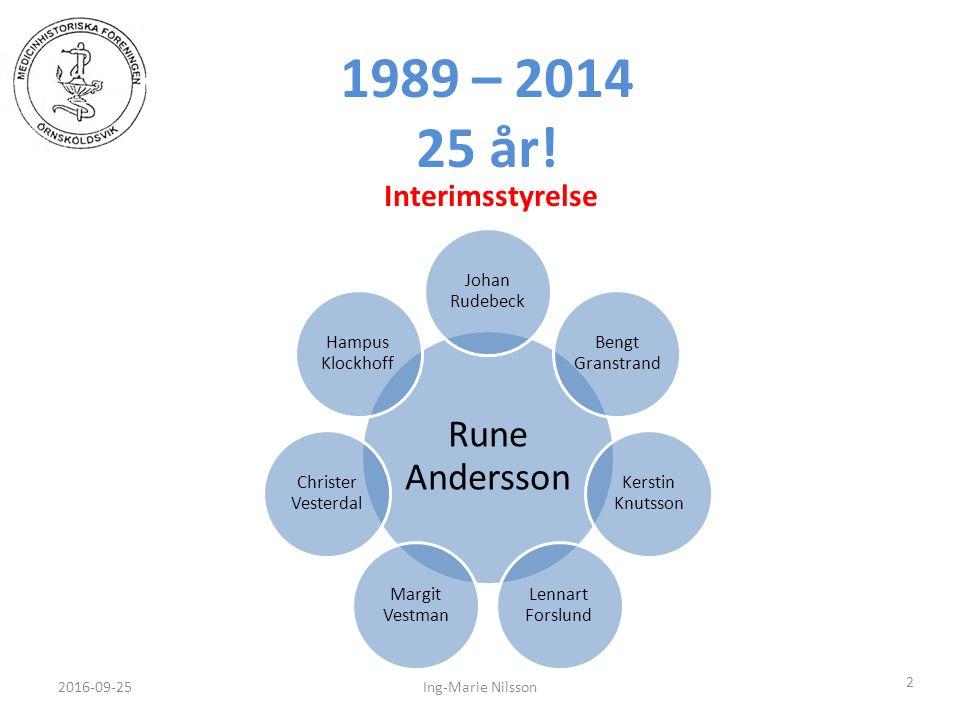 1989 – 2014 25 år! 2016-09-25 2 Ing-Marie Nilsson Interimsstyrelse Rune Andersson Johan Rudebeck Bengt Granstrand Kerstin Knutsson Lennart Forslund Ma