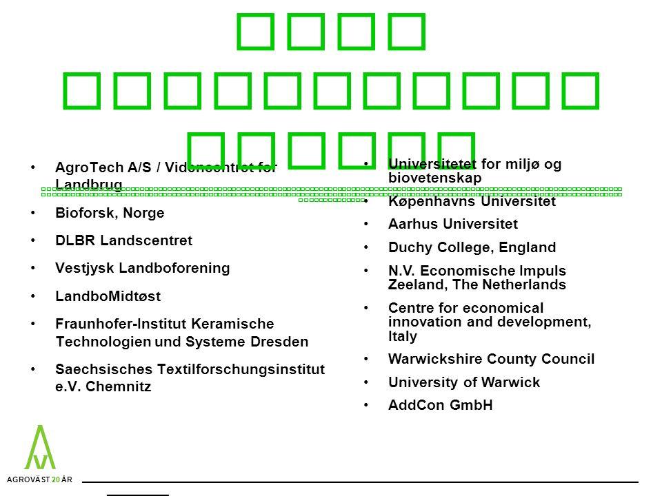 AgroTech A/S / Videncentret for Landbrug Bioforsk, Norge DLBR Landscentret Vestjysk Landboforening LandboMidtøst Fraunhofer-Institut Keramische Technologien und Systeme Dresden Saechsisches Textilforschungsinstitut e.V.
