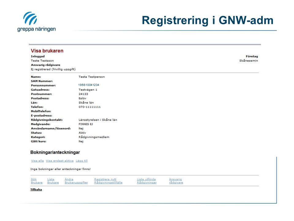 Registrering i GNW-adm 195610041234