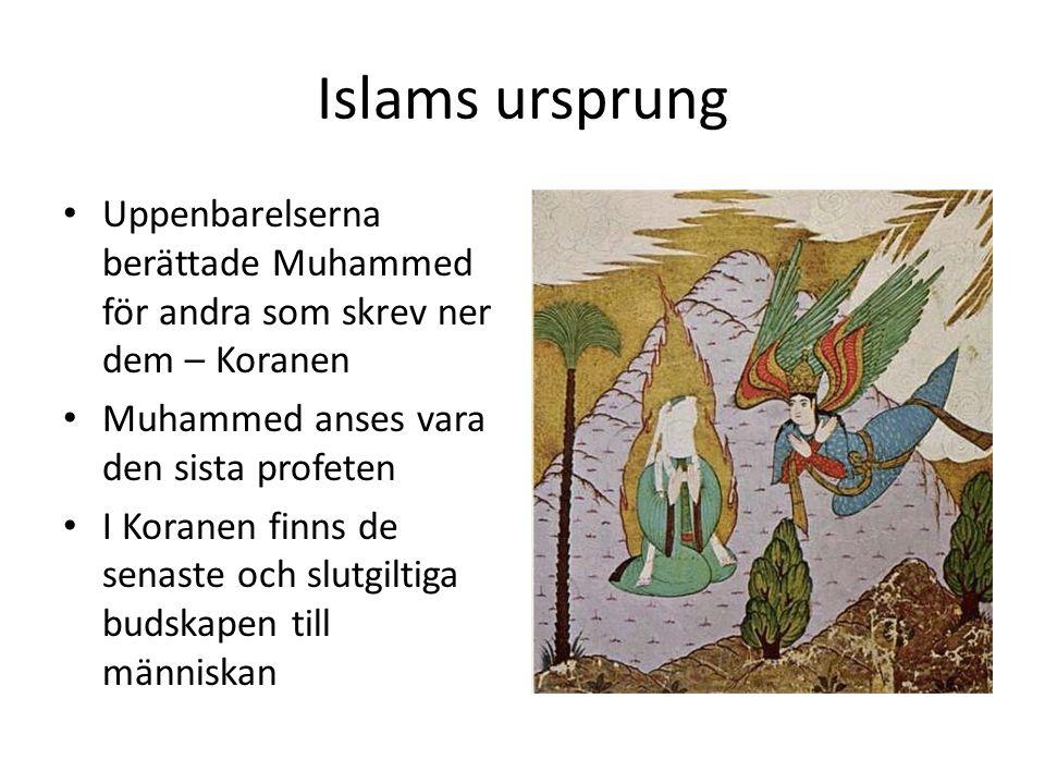 Islams ursprung Uppenbarelserna berättade Muhammed för andra som skrev ner dem – Koranen Muhammed anses vara den sista profeten I Koranen finns de senaste och slutgiltiga budskapen till människan