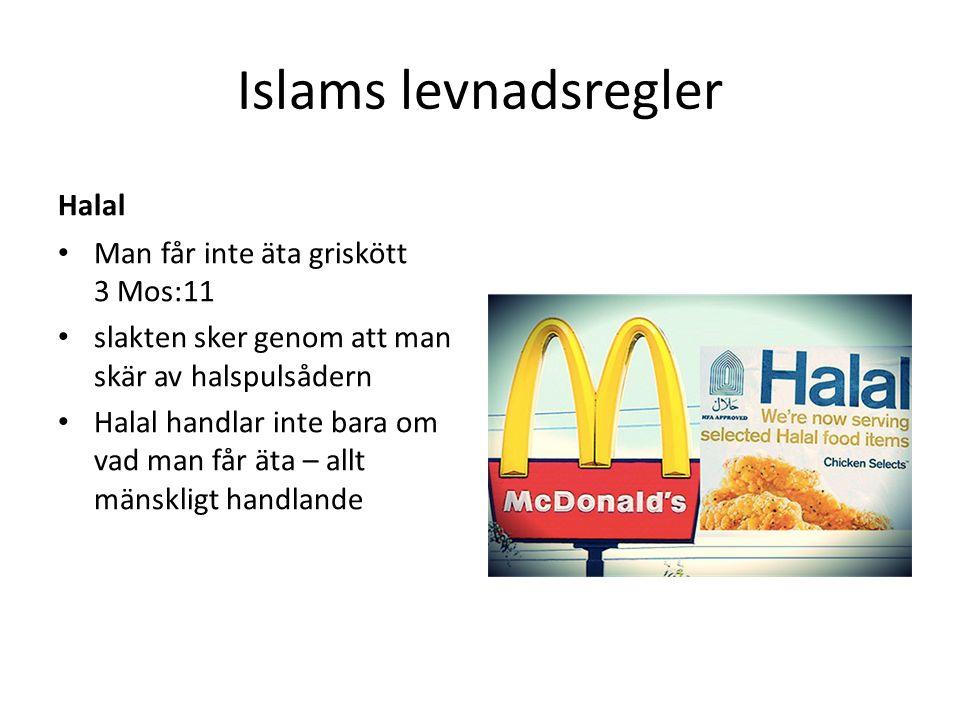 Islams levnadsregler Halal Man får inte äta griskött 3 Mos:11 slakten sker genom att man skär av halspulsådern Halal handlar inte bara om vad man får äta – allt mänskligt handlande