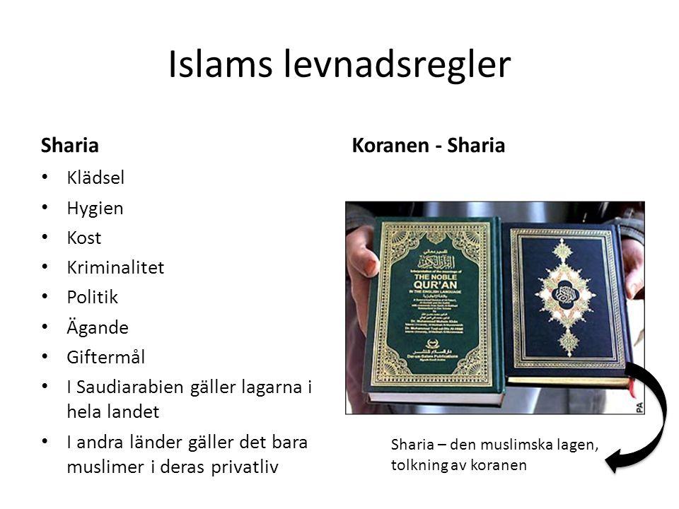 Islams levnadsregler ShariaKoranen - Sharia Sharia – den muslimska lagen, tolkning av koranen Klädsel Hygien Kost Kriminalitet Politik Ägande Giftermål I Saudiarabien gäller lagarna i hela landet I andra länder gäller det bara muslimer i deras privatliv