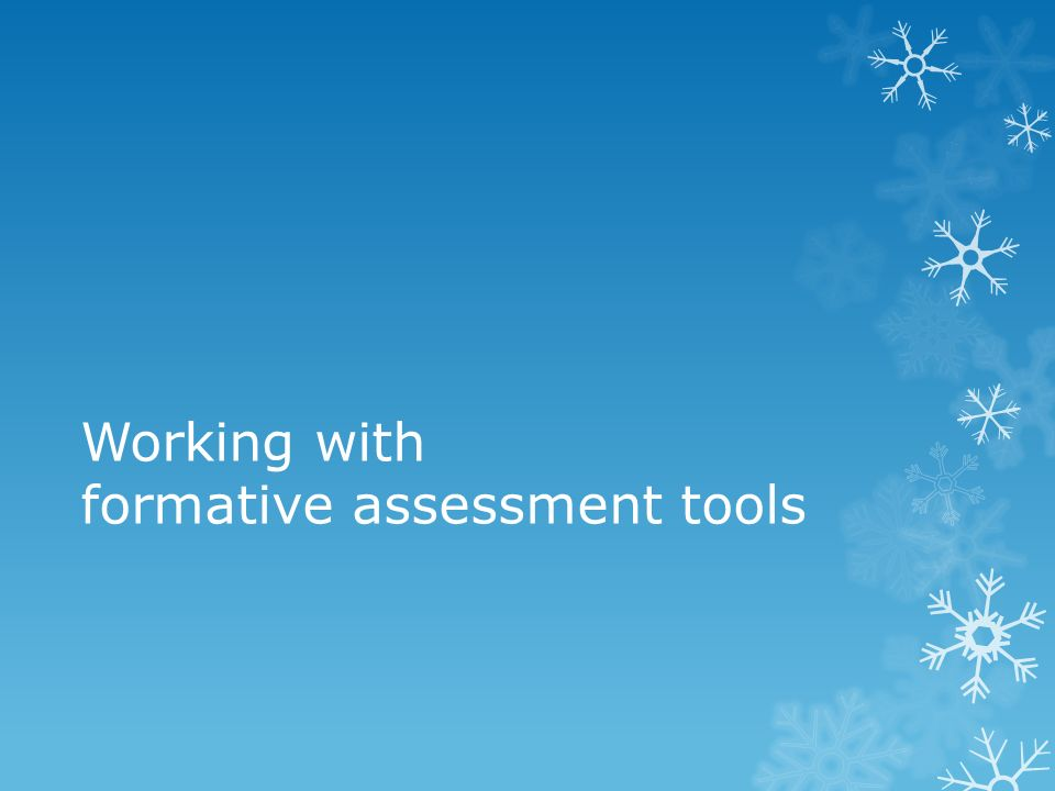 Working with formative assessment tools