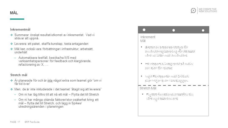 PAGE 17 BRP FacGuide MÅL Inkrementmål  Summerar önskat resultat/utkomst av inkrementet.