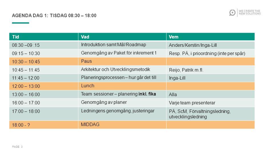 PAGE 3 AGENDA DAG 1: TISDAG 08:30 – 18:00 TidVadVem 08:30 –09 :15Introduktion samt Mål/RoadmapAnders/Kerstin/Inga-Lill 09:15 – 10:30Genomgång av Paket för inkrement 1Resp.