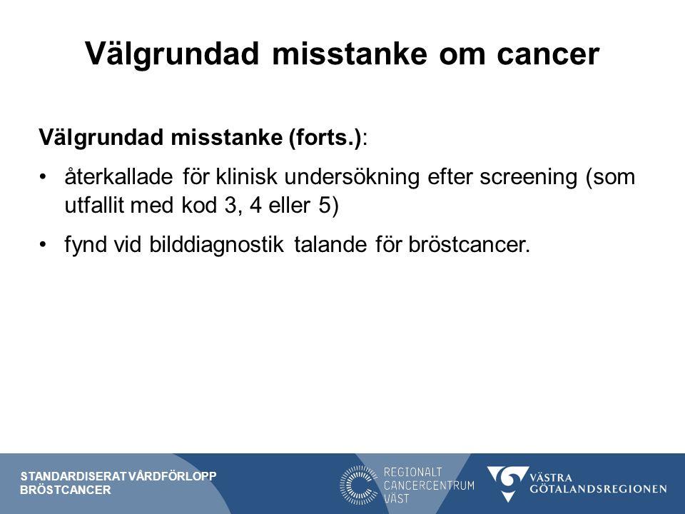 Välgrundad misstanke om cancer Välgrundad misstanke (forts.): återkallade för klinisk undersökning efter screening (som utfallit med kod 3, 4 eller 5) fynd vid bilddiagnostik talande för bröstcancer.