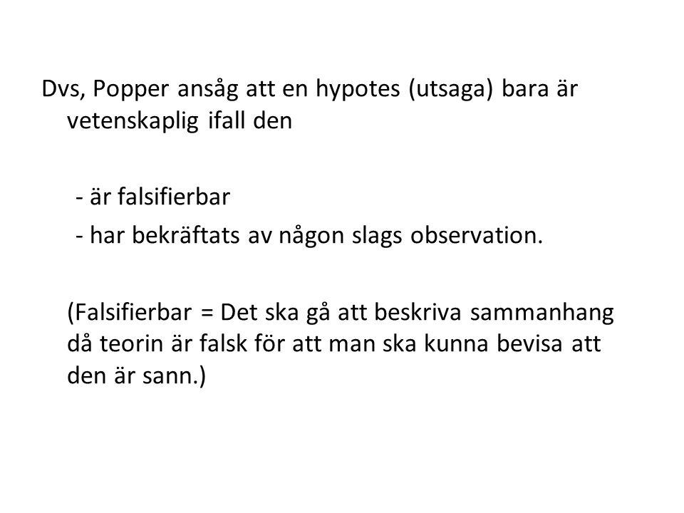 Dvs, Popper ansåg att en hypotes (utsaga) bara är vetenskaplig ifall den - är falsifierbar - har bekräftats av någon slags observation.