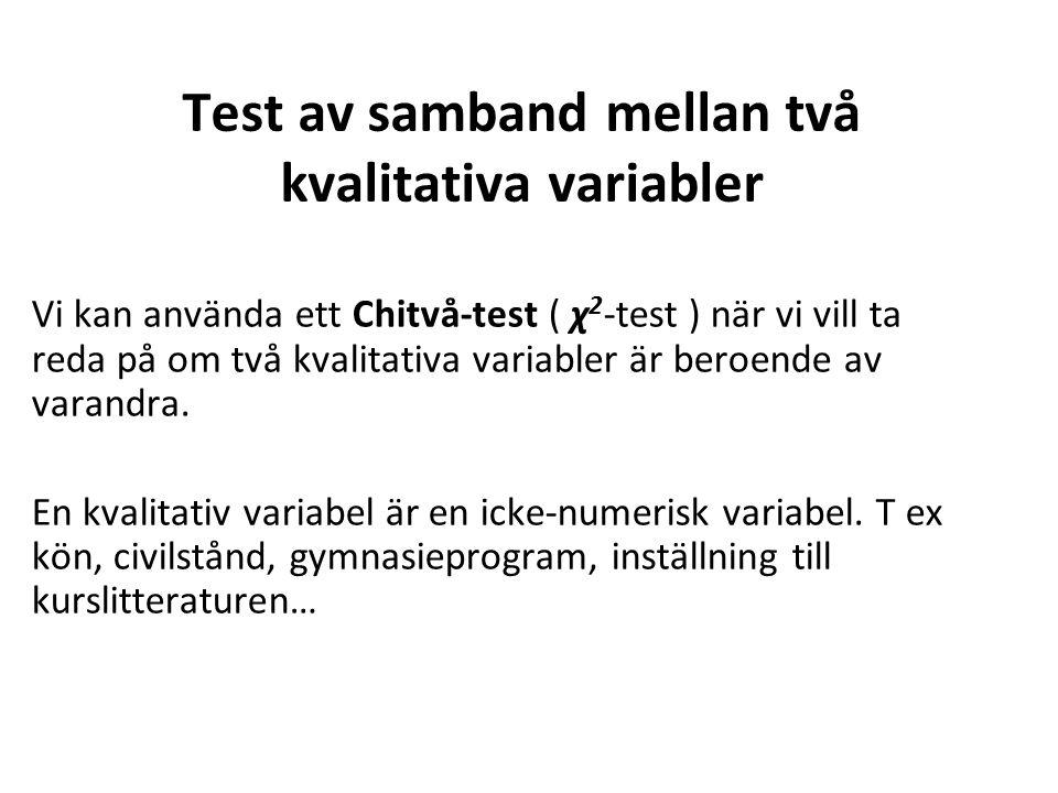 Test av samband mellan två kvalitativa variabler Vi kan använda ett Chitvå-test ( χ 2 -test ) när vi vill ta reda på om två kvalitativa variabler är beroende av varandra.