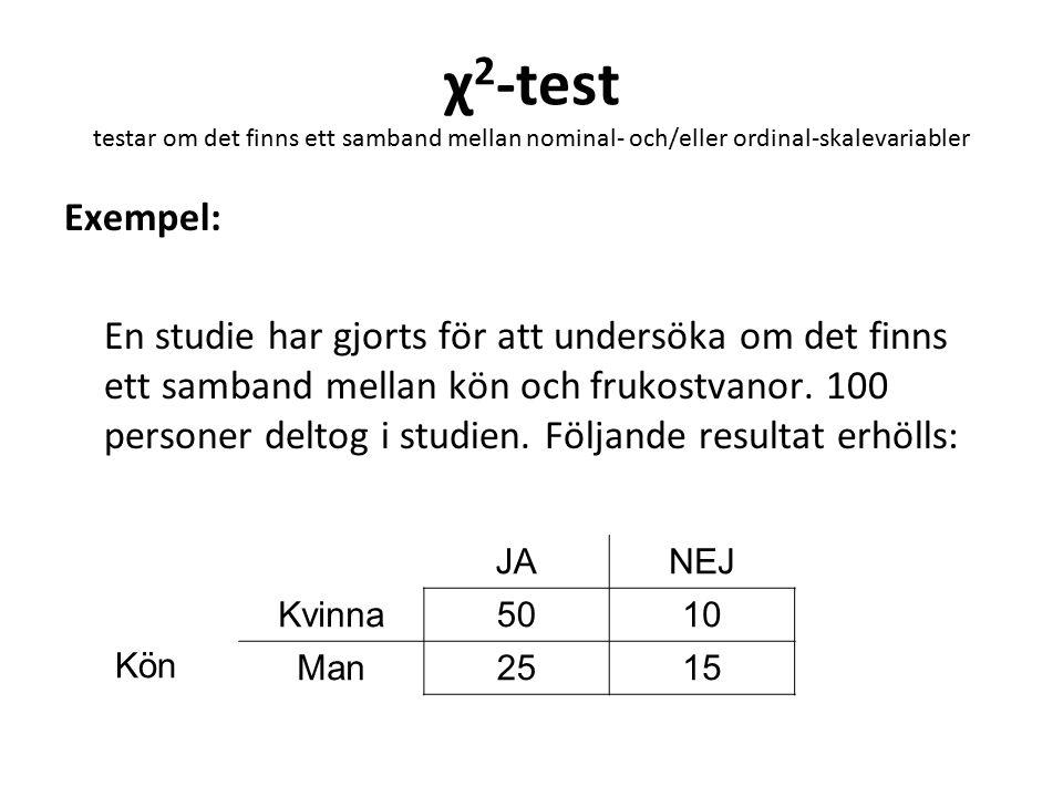 χ 2 -test testar om det finns ett samband mellan nominal- och/eller ordinal-skalevariabler Exempel: En studie har gjorts för att undersöka om det finn