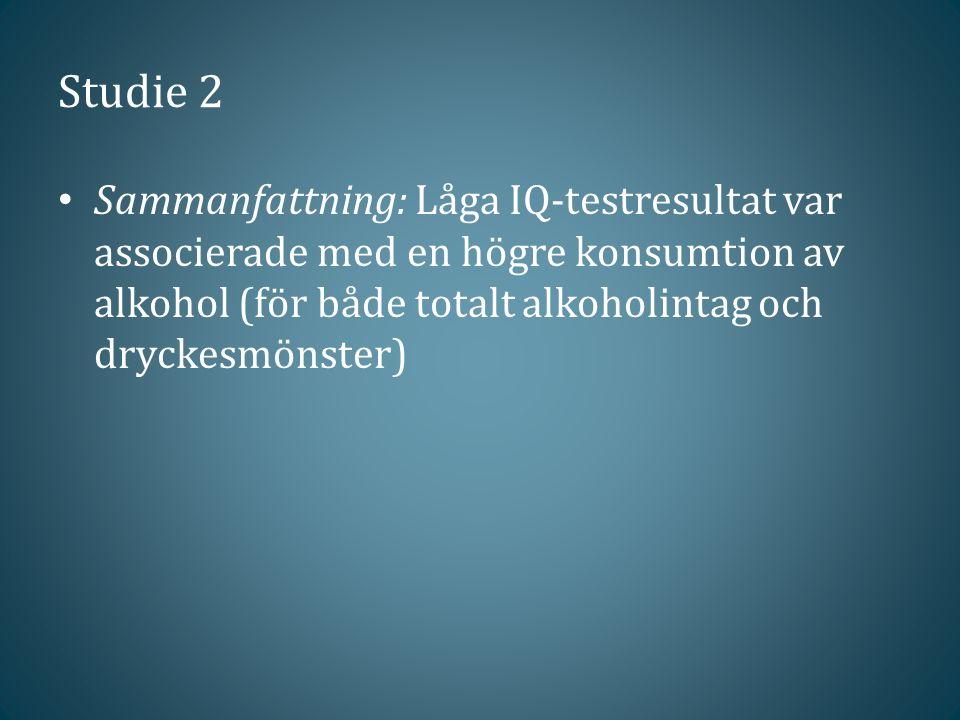 Studie 2 Sammanfattning: Låga IQ-testresultat var associerade med en högre konsumtion av alkohol (för både totalt alkoholintag och dryckesmönster)
