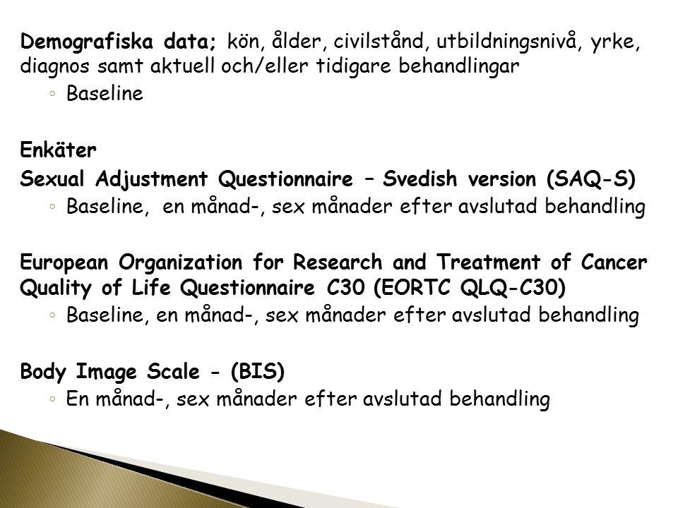 Demografiska data; kön, ålder, civilstånd, utbildningsnivå, yrke, diagnos samt aktuell och/eller tidigare behandlingar ◦ Baseline Enkäter Sexual Adjustment Questionnaire – Svedish version (SAQ-S) ◦ Baseline, en månad-, sex månader efter avslutad behandling European Organization for Research and Treatment of Cancer Quality of Life Questionnaire C30 (EORTC QLQ-C30) ◦ Baseline, en månad-, sex månader efter avslutad behandling Body Image Scale - (BIS) ◦ En månad-, sex månader efter avslutad behandling