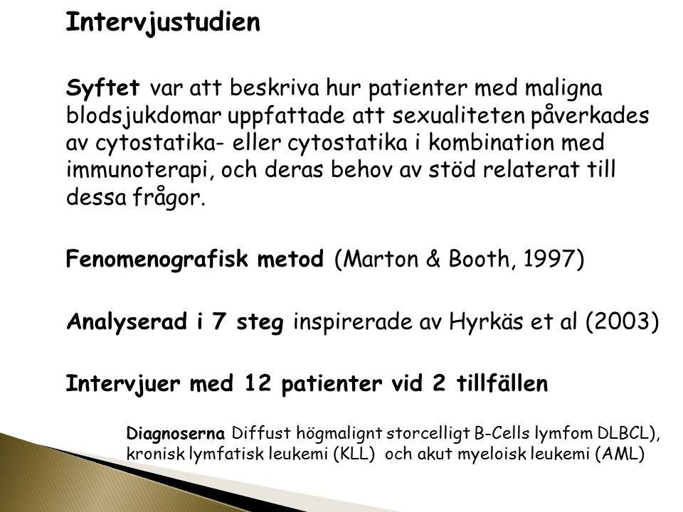 Intervjustudien Syftet var att beskriva hur patienter med maligna blodsjukdomar uppfattade att sexualiteten påverkades av cytostatika- eller cytostati
