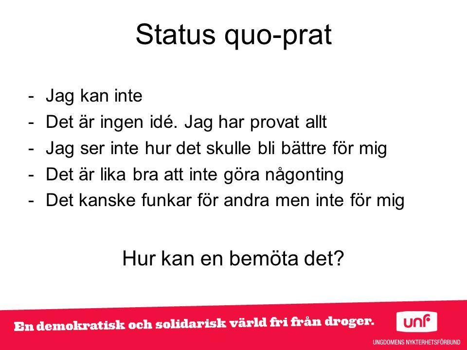 Status quo-prat -Jag kan inte -Det är ingen idé.