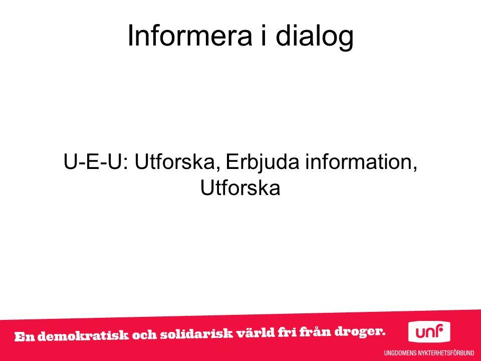 Informera i dialog U-E-U: Utforska, Erbjuda information, Utforska
