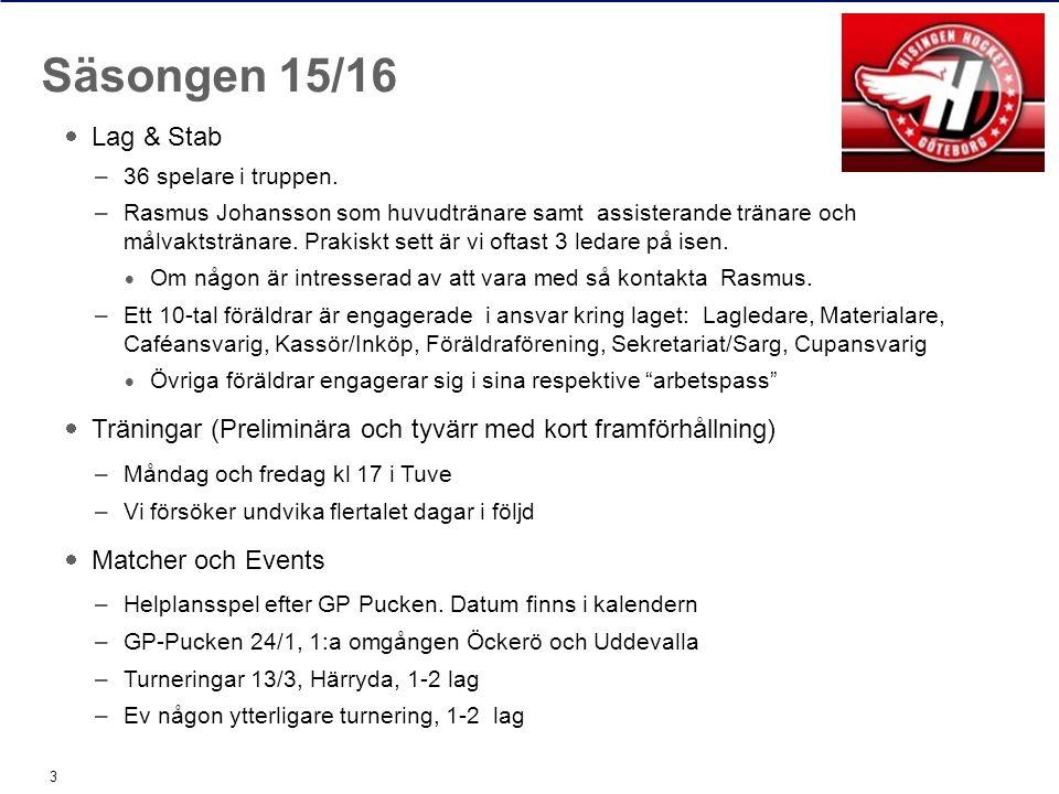  Lag & Stab –36 spelare i truppen.