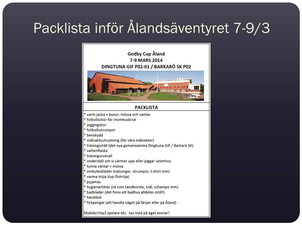 Packlista inför Ålandsäventyret 7-9/3