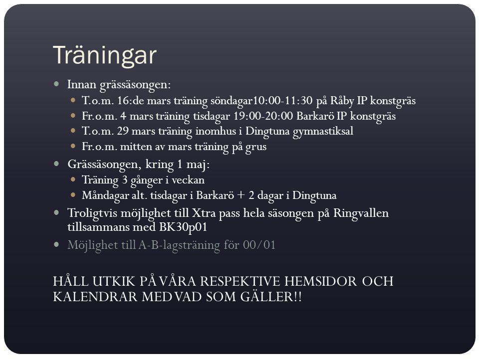 Träningar Innan grässäsongen: T.o.m. 16:de mars träning söndagar10:00-11:30 på Råby IP konstgräs Fr.o.m. 4 mars träning tisdagar 19:00-20:00 Barkarö I