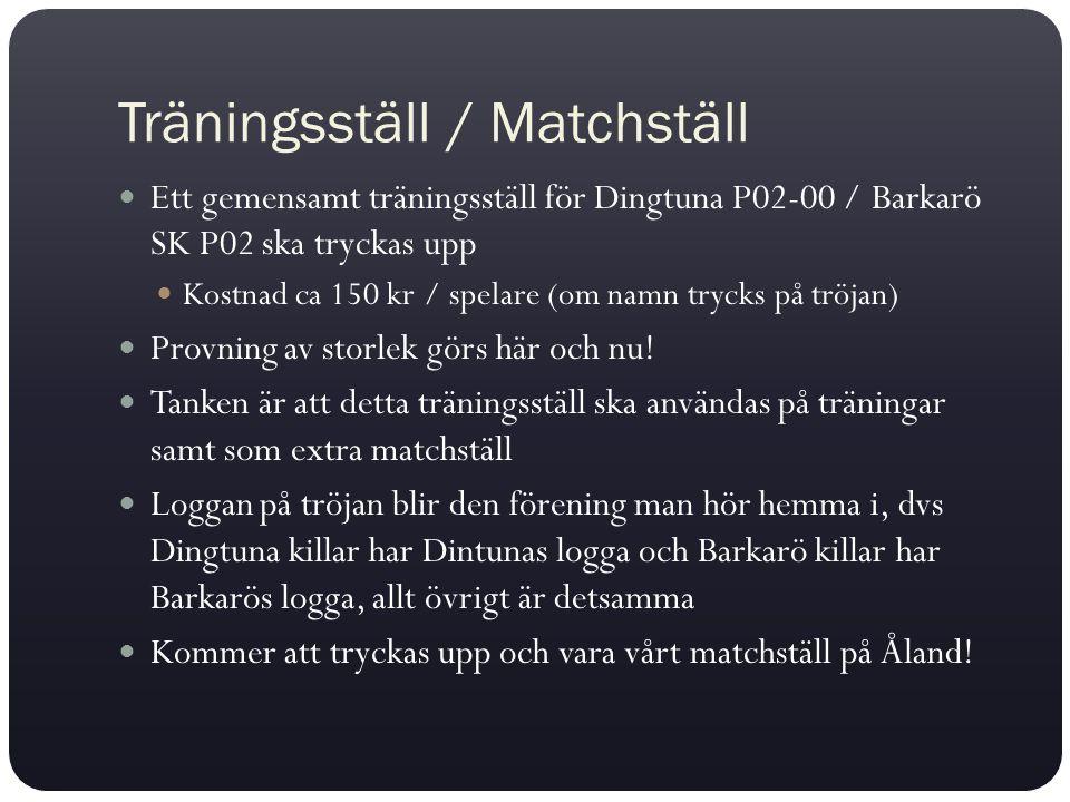 Träningsställ / Matchställ Ett gemensamt träningsställ för Dingtuna P02-00 / Barkarö SK P02 ska tryckas upp Kostnad ca 150 kr / spelare (om namn tryck