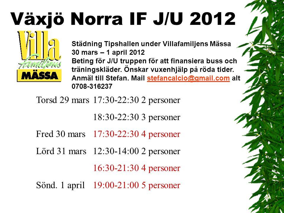 Växjö Norra IF J/U 2012 Torsd 29 mars17:30-22:30 2 personer 18:30-22:30 3 personer Fred 30 mars17:30-22:30 4 personer Lörd 31 mars12:30-14:00 2 personer 16:30-21:30 4 personer Sönd.