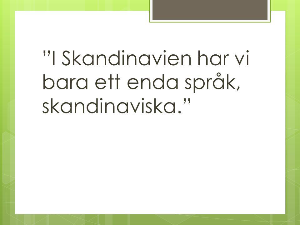 I Skandinavien har vi bara ett enda språk, skandinaviska.
