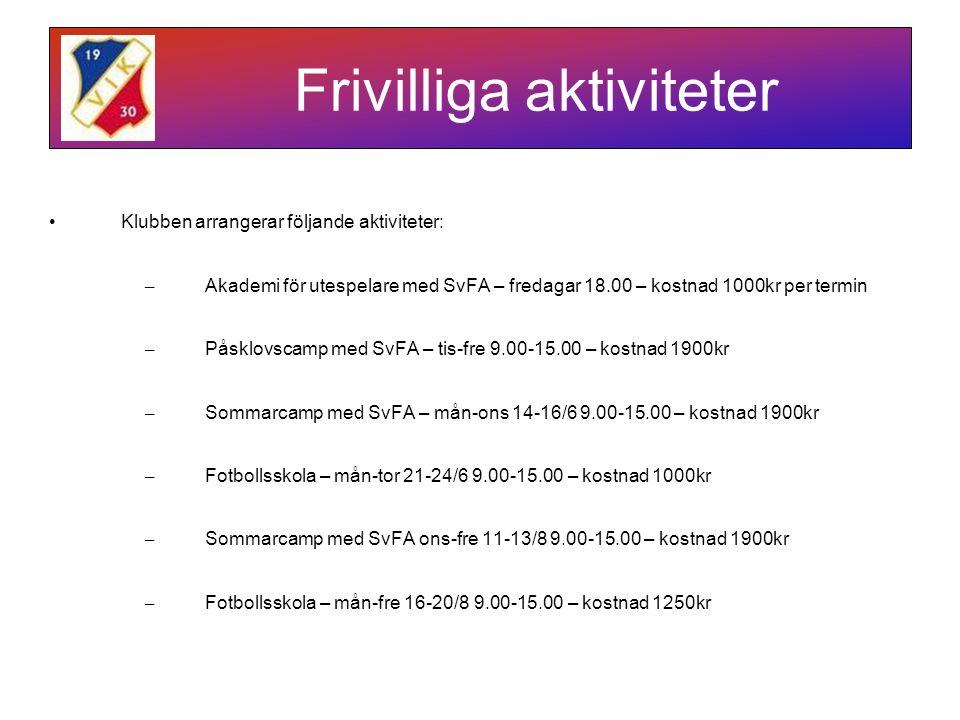 Frivilliga aktiviteter Klubben arrangerar följande aktiviteter: – Akademi för utespelare med SvFA – fredagar 18.00 – kostnad 1000kr per termin – Påsklovscamp med SvFA – tis-fre 9.00-15.00 – kostnad 1900kr – Sommarcamp med SvFA – mån-ons 14-16/6 9.00-15.00 – kostnad 1900kr – Fotbollsskola – mån-tor 21-24/6 9.00-15.00 – kostnad 1000kr – Sommarcamp med SvFA ons-fre 11-13/8 9.00-15.00 – kostnad 1900kr – Fotbollsskola – mån-fre 16-20/8 9.00-15.00 – kostnad 1250kr
