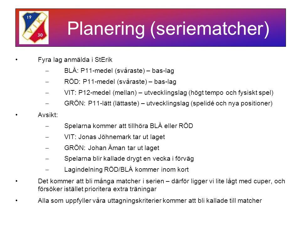Planering (seriematcher) Fyra lag anmälda i StErik – BLÅ: P11-medel (svåraste) – bas-lag – RÖD: P11-medel (svåraste) – bas-lag – VIT: P12-medel (mellan) – utvecklingslag (högt tempo och fysiskt spel) – GRÖN: P11-lätt (lättaste) – utvecklingslag (spelidé och nya positioner) Avsikt: – Spelarna kommer att tillhöra BLÅ eller RÖD – VIT: Jonas Jöhnemark tar ut laget – GRÖN: Johan Åman tar ut laget – Spelarna blir kallade drygt en vecka i förväg – Lagindelning RÖD/BLÅ kommer inom kort Det kommer att bli många matcher i serien – därför ligger vi lite lågt med cuper, och försöker istället prioritera extra träningar Alla som uppfyller våra uttagningskriterier kommer att bli kallade till matcher