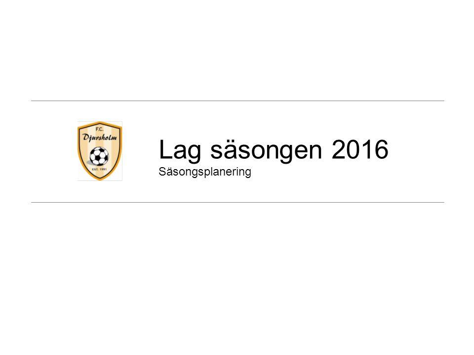 Lag säsongen 2016 Säsongsplanering