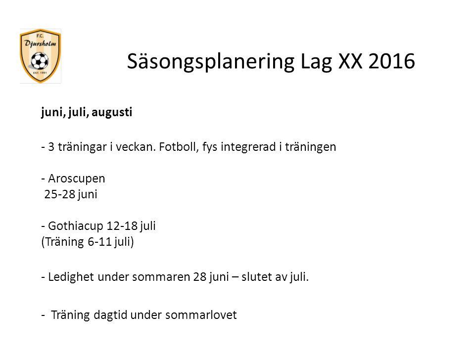 Säsongsplanering Lag XX 2016 juni, juli, augusti - 3 träningar i veckan. Fotboll, fys integrerad i träningen - Aroscupen 25-28 juni - Gothiacup 12-18