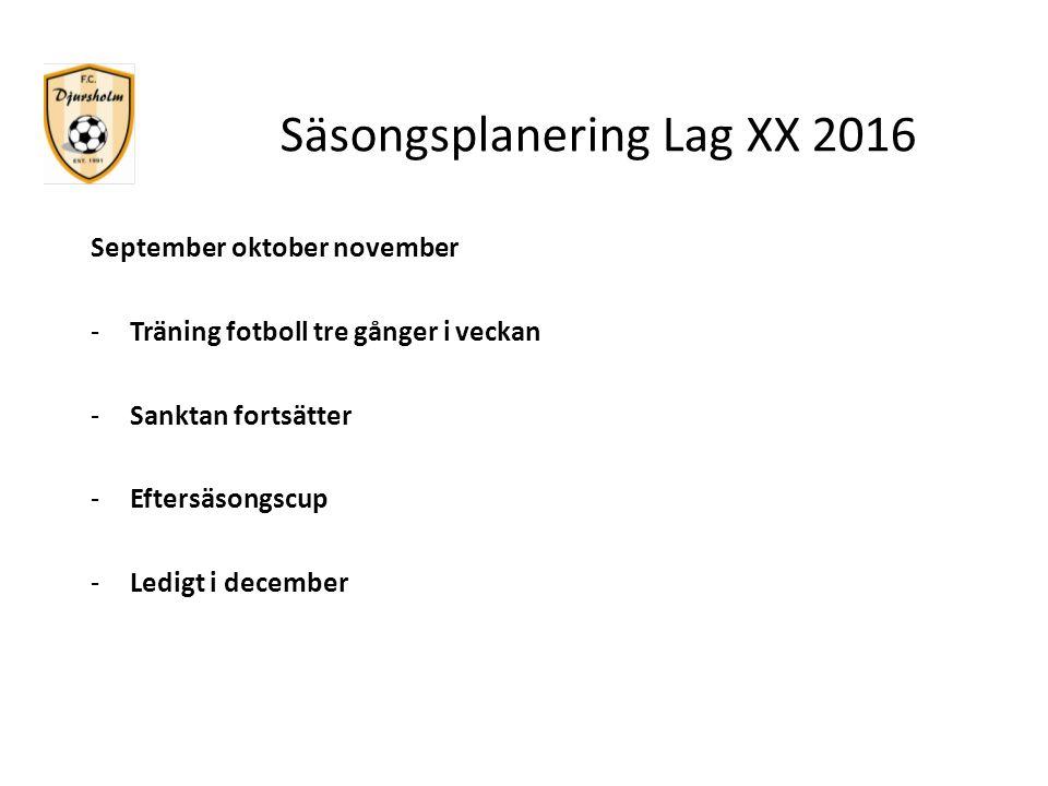 Säsongsplanering Lag XX 2016 September oktober november -Träning fotboll tre gånger i veckan -Sanktan fortsätter -Eftersäsongscup -Ledigt i december