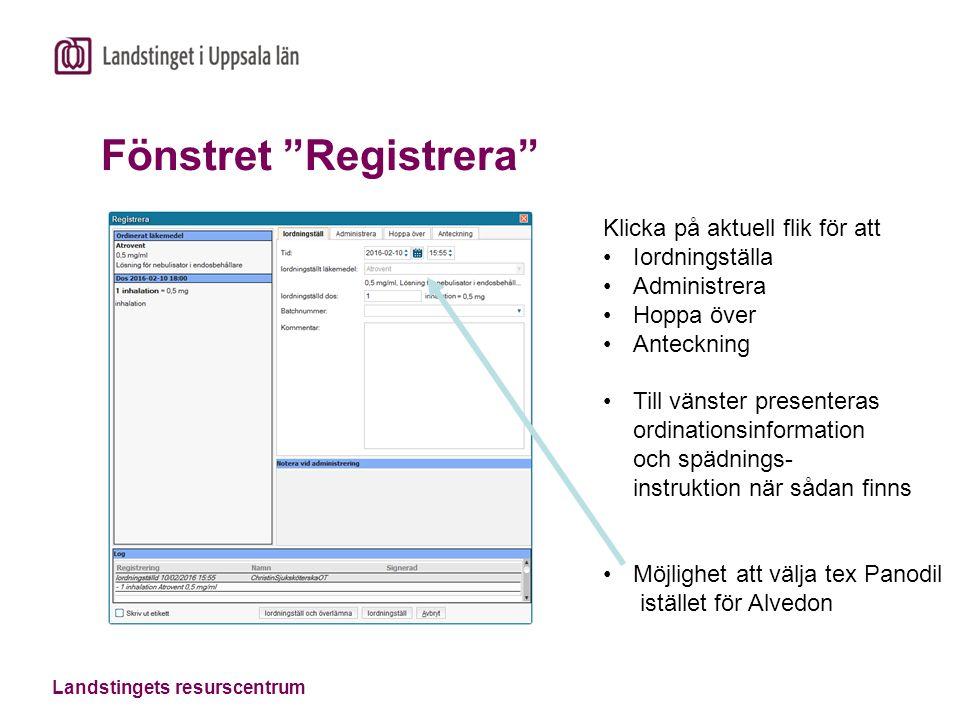 Landstingets resurscentrum Hö-klick: Visa logg I loggen presenteras alla aktiviteter som gjorts på markerad dos.