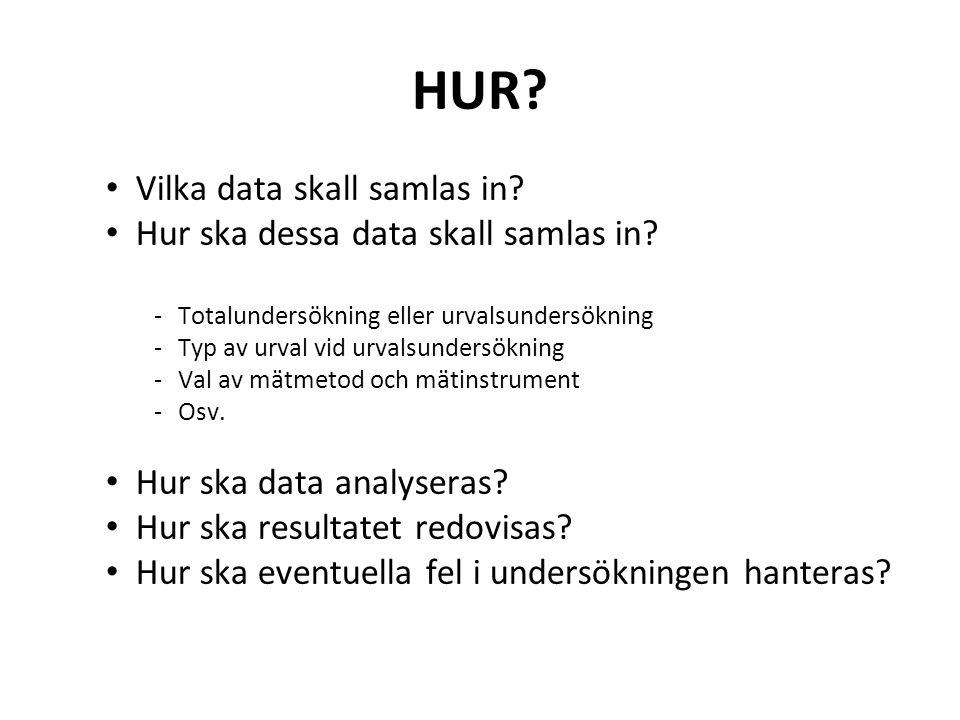 HUR. Vilka data skall samlas in. Hur ska dessa data skall samlas in.
