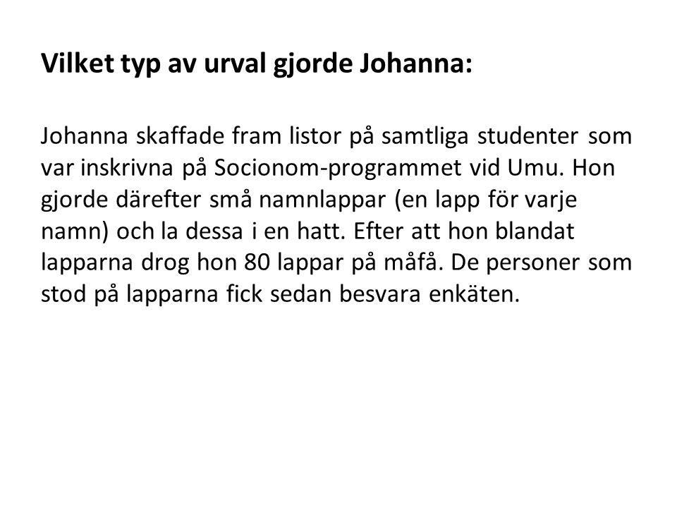 Vilket typ av urval gjorde Johanna: Johanna skaffade fram listor på samtliga studenter som var inskrivna på Socionom-programmet vid Umu.