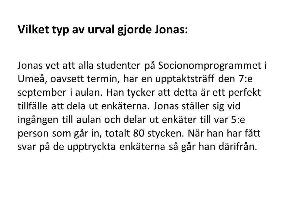 Vilket typ av urval gjorde Jonas: Jonas vet att alla studenter på Socionomprogrammet i Umeå, oavsett termin, har en upptaktsträff den 7:e september i aulan.