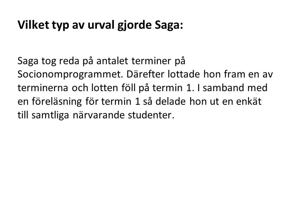 Vilket typ av urval gjorde Saga: Saga tog reda på antalet terminer på Socionomprogrammet.