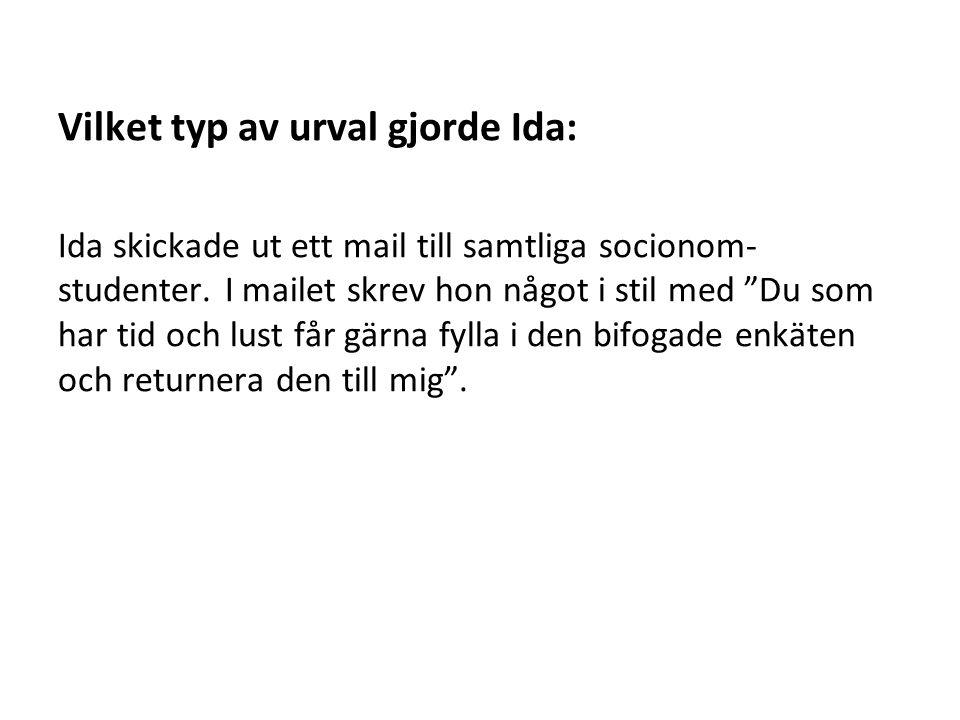 Vilket typ av urval gjorde Ida: Ida skickade ut ett mail till samtliga socionom- studenter.