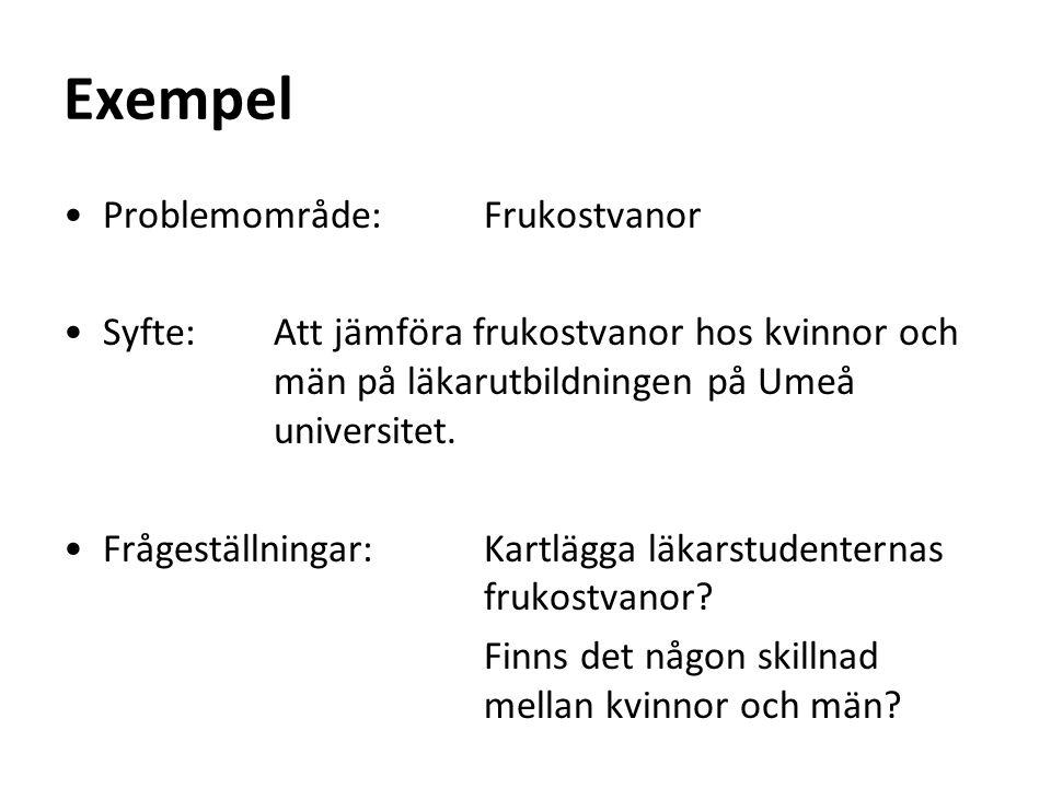 Exempel Problemområde: Frukostvanor Syfte: Att jämföra frukostvanor hos kvinnor och män på läkarutbildningen på Umeå universitet.