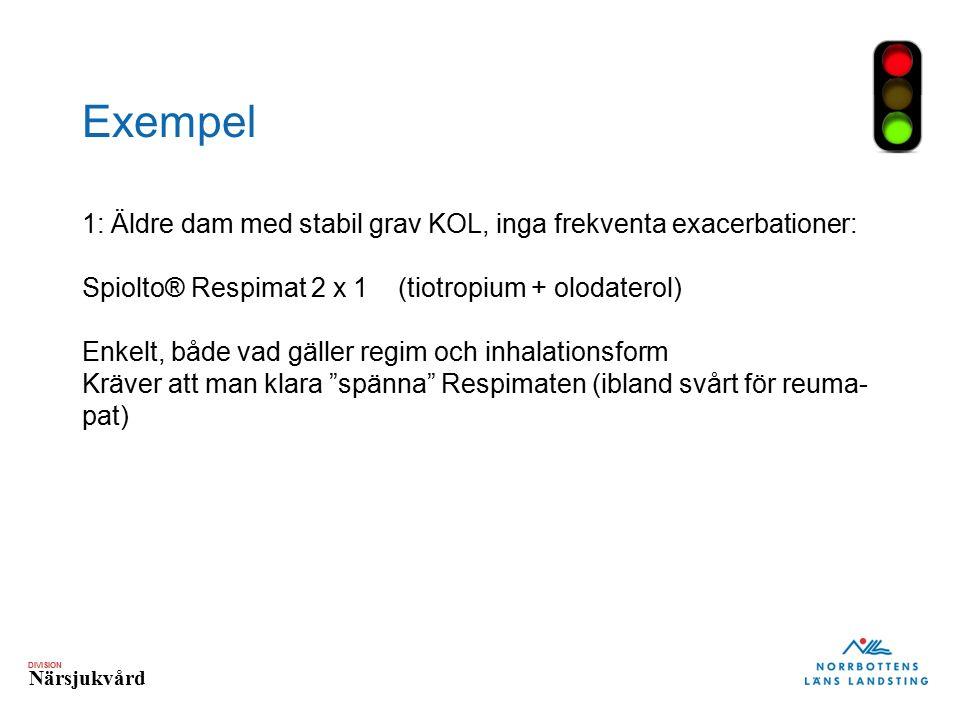 DIVISION Närsjukvård Exempel 1: Äldre dam med stabil grav KOL, inga frekventa exacerbationer: Spiolto® Respimat 2 x 1 (tiotropium + olodaterol) Enkelt