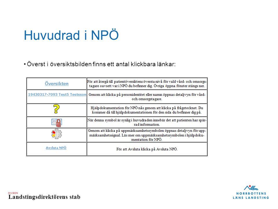 DIVISION Landstingsdirektörens stab Huvudrad i NPÖ Överst i översiktsbilden finns ett antal klickbara länkar: