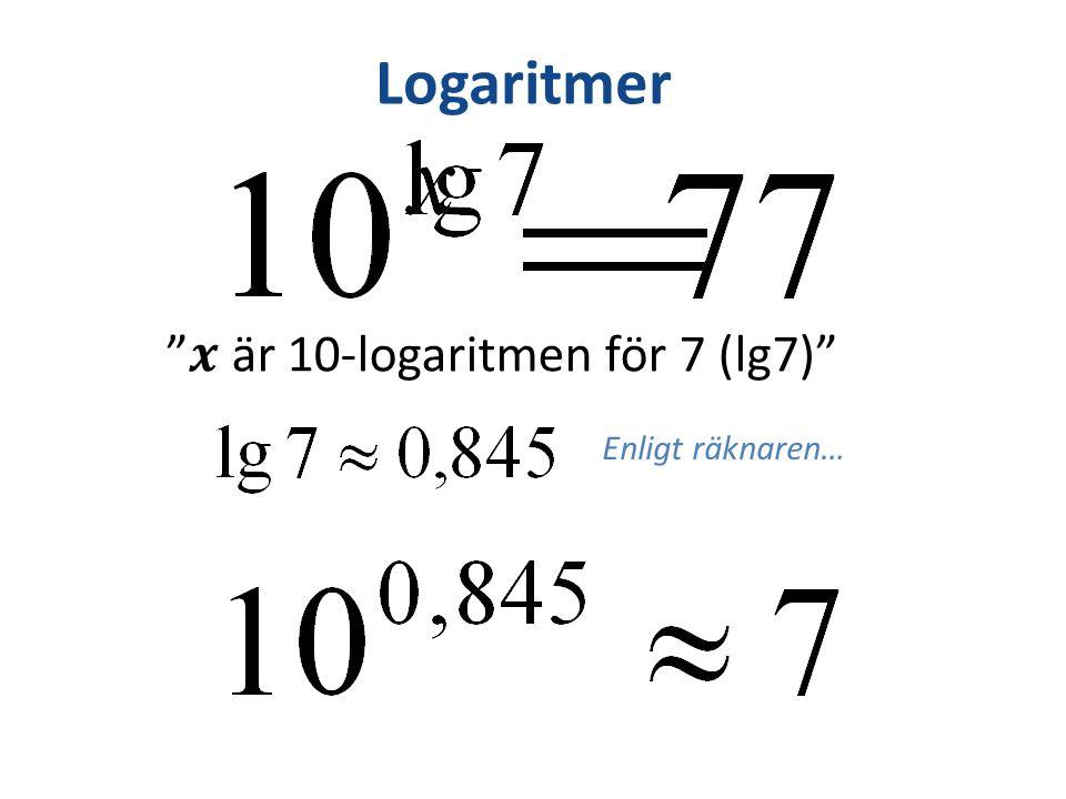 Logaritmer Enligt räknaren… är 10-logaritmen för 7 (lg7)