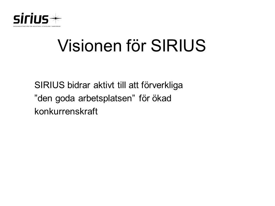 """Visionen för SIRIUS SIRIUS bidrar aktivt till att förverkliga """"den goda arbetsplatsen"""" för ökad konkurrenskraft"""