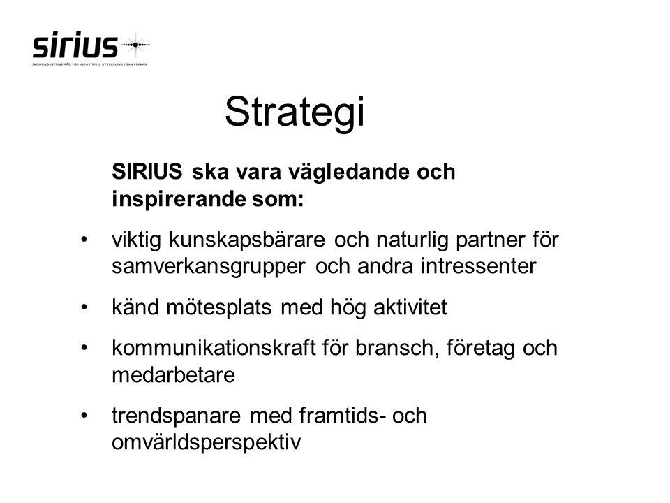 Strategi SIRIUS ska vara vägledande och inspirerande som: viktig kunskapsbärare och naturlig partner för samverkansgrupper och andra intressenter känd