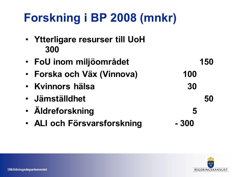 Utbildningsdepartementet Forskning i BP 2008 (mnkr) Ytterligare resurser till UoH 300 FoU inom miljöområdet 150 Forska och Väx (Vinnova)100 Kvinnors h