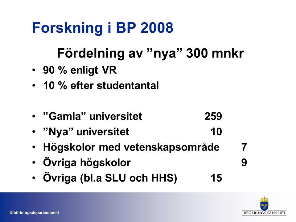"""Utbildningsdepartementet Forskning i BP 2008 Fördelning av """"nya"""" 300 mnkr 90 % enligt VR 10 % efter studentantal """"Gamla"""" universitet259 """"Nya"""" universi"""