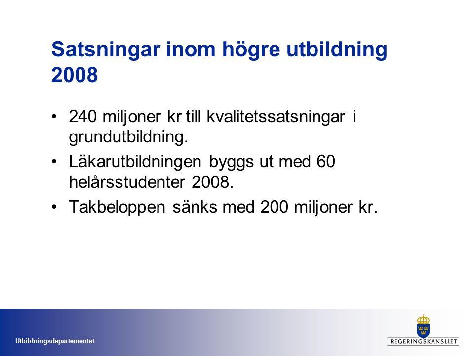 Utbildningsdepartementet Satsningar inom högre utbildning 2008 240 miljoner kr till kvalitetssatsningar i grundutbildning.