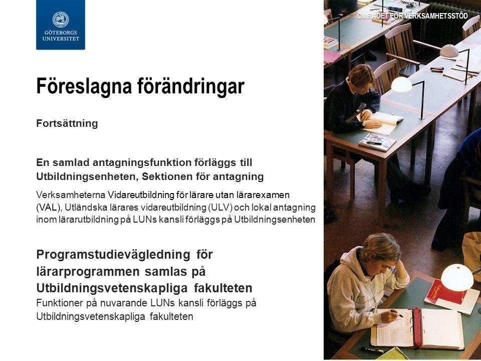 Föreslagna förändringar Fortsättning En samlad antagningsfunktion förläggs till Utbildningsenheten, Sektionen för antagning Verksamheterna Vidareutbildning för lärare utan lärarexamen (VAL), Utländska lärares vidareutbildning (ULV) och lokal antagning inom lärarutbildning på LUNs kansli förläggs på Utbildningsenheten Programstudievägledning för lärarprogrammen samlas på Utbildningsvetenskapliga fakulteten Funktioner på nuvarande LUNs kansli förläggs på Utbildningsvetenskapliga fakulteten OMRÅDET FÖR VERKSAMHETSSTÖD
