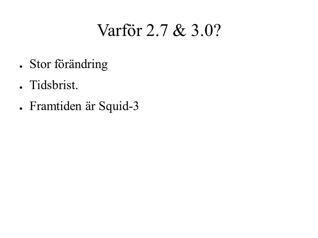 Varför 2.7 & 3.0? ● Stor förändring ● Tidsbrist. ● Framtiden är Squid-3