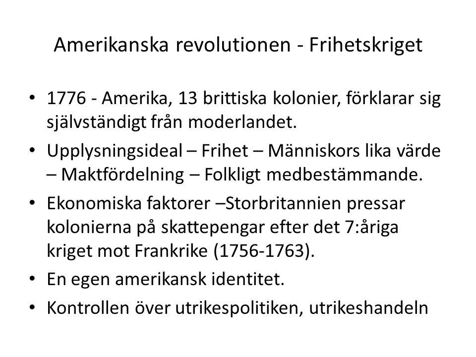 Amerikanska revolutionen - Frihetskriget 1776 - Amerika, 13 brittiska kolonier, förklarar sig självständigt från moderlandet. Upplysningsideal – Frihe
